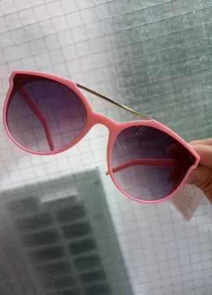 Крутые стильные очки для девочки розовые двойная перегородка