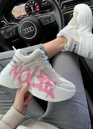 Шикарні кросівки naked wolfe pink logo premium  кроссовки ботинки