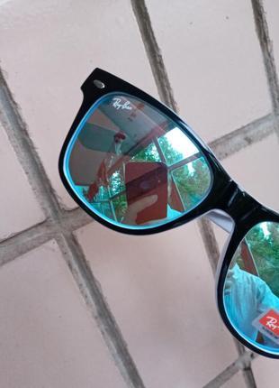Ray ban вайфареры голубые в черно-белой оправе унисекс италия