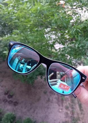 Ray ban вайфареры голубые зеркальные черно-белая оправа унисекс италия