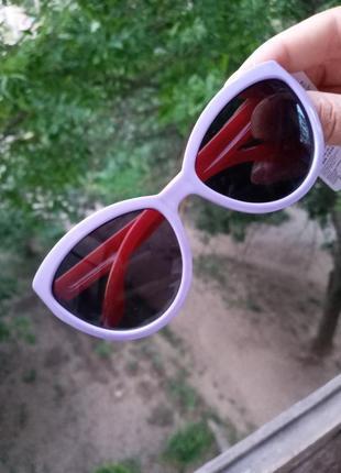 Стильные сиреневые очки красные дужки кошки лисички стиль одри хепбёрн