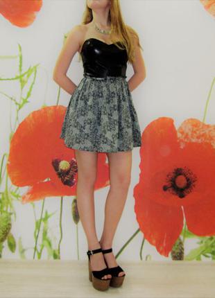 Крутое платье с кожанным лифом
