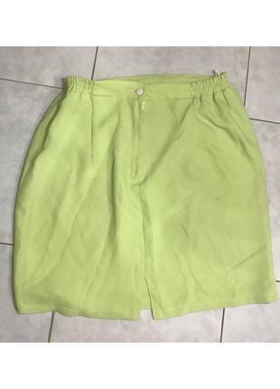 Салатовая летняя юбка женская короткая на резинке замке мини зеленая