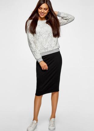 Женская черная юбка-карандаш  с карманами и разрезами по бокам