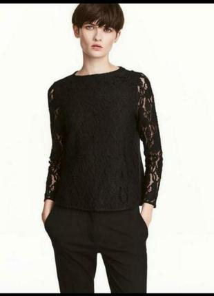 Теплая блуза с кружевом и начесом на спине
