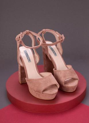 Эко замшевые босоножки на высоком каблуке, бежевые, 2 цв