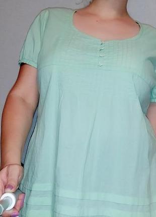 Салатовая хлопковая блуза bhs 16-18 размер