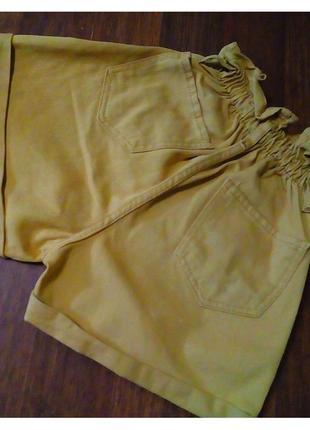 Джинсовые шорты багги горчичные на резинке  c подворотом2 фото