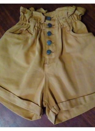 Джинсовые шорты багги горчичные на резинке  c подворотом
