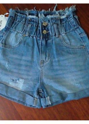 Джинсовые голубые  шорты багги на резинке с подворотом рваные, шорты джинс резинка3 фото