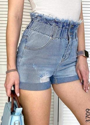 Джинсовые голубые  шорты багги на резинке с подворотом рваные, шорты джинс резинка4 фото