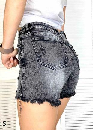 Серые джинсовые шорты рваные, шорты джинс рванка2 фото