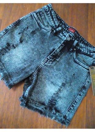 Серые джинсовые шорты рваные, шорты джинс рванка3 фото