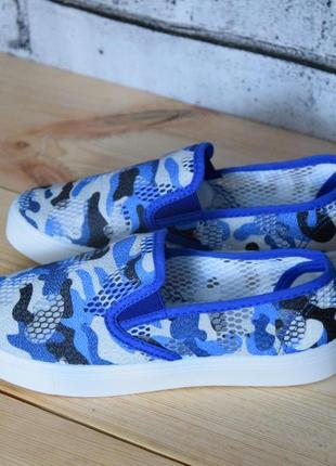 Синие камуфляжные легкие мокасины