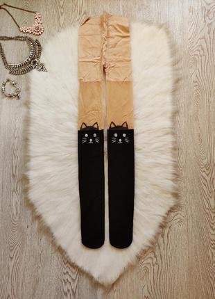 Цветные колготки бежевые телесные сверху и черные снизу с котиками чулки гетры шортиками