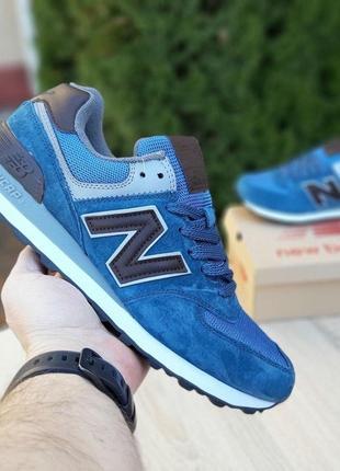 👟 кроссовки new balance 574 синий с коричневым / наложенный платёж👟