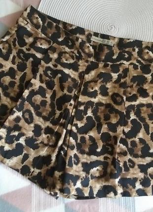Юбка шорты леопардовый принт