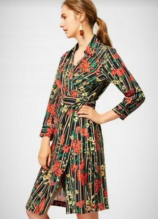 Роскошное миди платье на запах/платье халат в полоску от zara