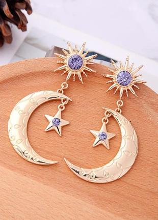 Крутые серьги луна звезда месяц сережки