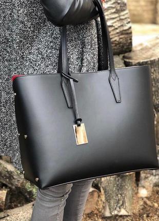 Чёрная кожаная сумка шоппер италия натуральная кожа