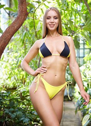 Женский пляжный купальник diera black+yellow
