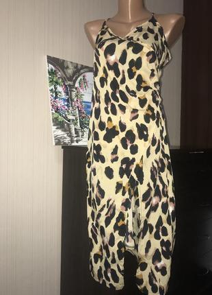 Леопардовое миди платье с разрезом