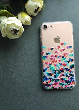 Чехол в сердечки силиконовый на iphone 7/81 фото