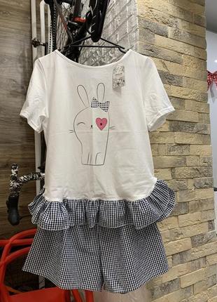 Пижама хлопоквая  женская или на девушку шорты и футболка от бренда  giulia