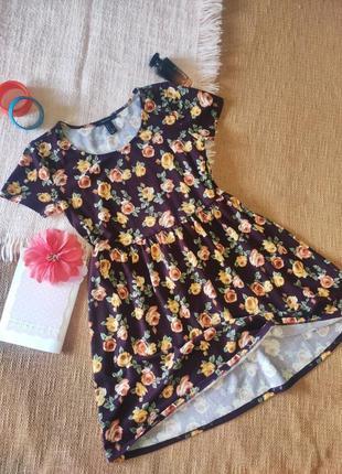 Платье миди яркое в цветочек принт винтаж ретро