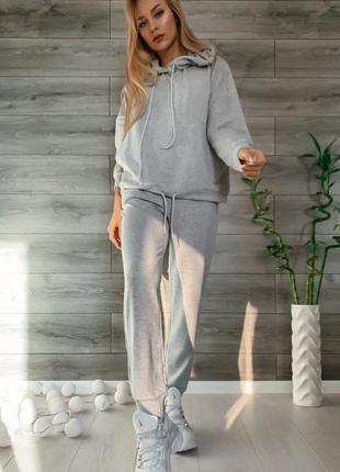 Спортивний жіночий костюм двійка оверсайз худі світшот з капішоном штани високої посадки
