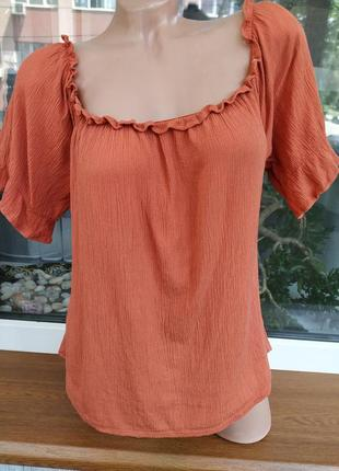 Вискзная блузка/топ в кирпичном цвете primark.