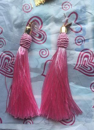 Серьги кисточки длинные розовые