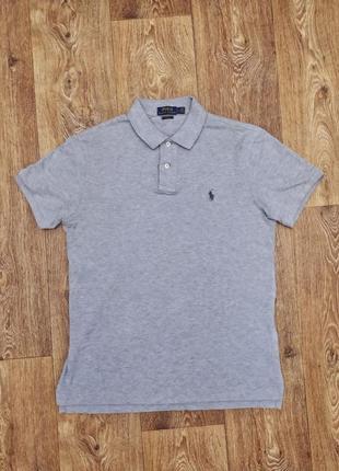 Фирменное актуальное мужское футболка поло серого цвета ralph lauren