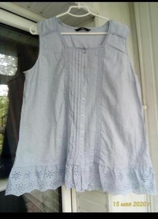 Коттоновая блуза майка рубашка большого размера батал