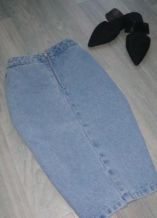Джинсовая юбка с лампасами missguided