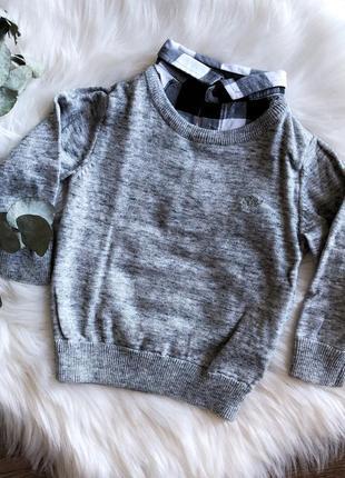 Серая кофта с рубашкой для мальчика