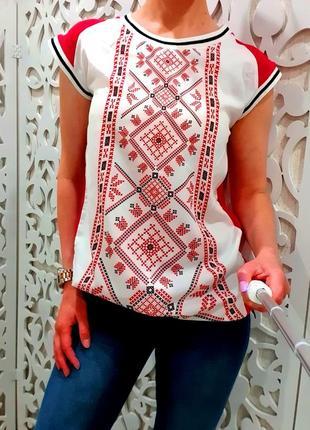 Блуза женская xs-s nenka бренд орнамент узор  вышиванка блузка без рукавов