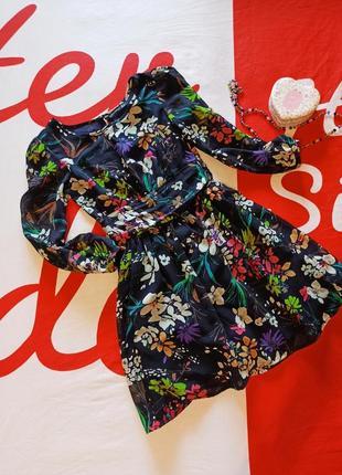 Трендовое платье миди в цветочек с длинным рукавом atmosphere