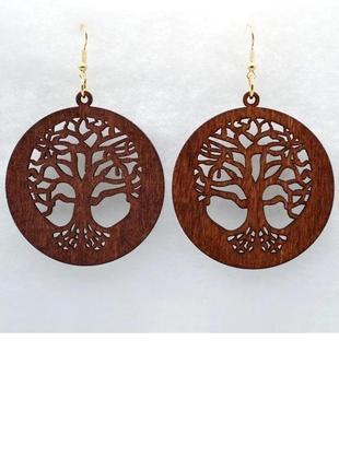 Крупные деревянные серьги  дерево рода этно бохо