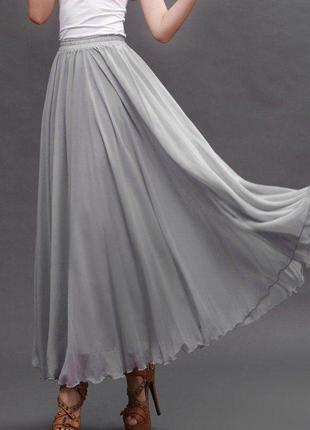 Батал! большой размер! длинная шелковая юбка в пол макси, натуральный шелк