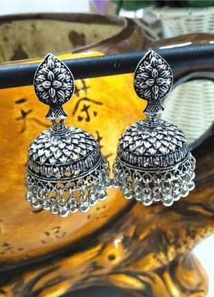 Шикарные индийские серьги капля с куполом бохо этно стиль цвет серебро