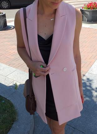 Удлинённый жилет пастельно розовой zara