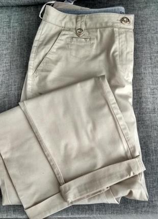 M&s    базовые бежевые брюки   с  отворотом
