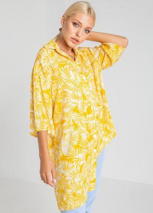 Асимметричная льняная рубашка желтый