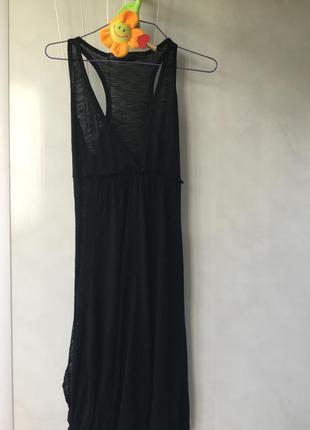 Чёрное платье - сарафан  миди