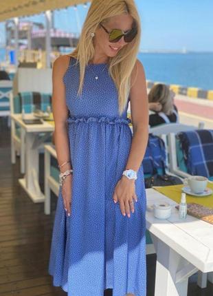 Платье в горох с рюшей голубое, синее