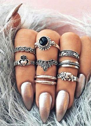 Стильный набор колец кольца на фаланги слон сердце в руках бохо этно
