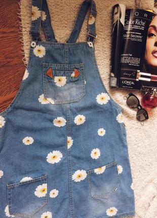 Джинсовый сарафан,джинсовое платье ,платье в ромашках,платье на подтяжках