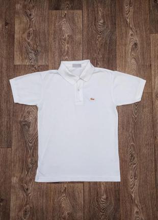 Базовое стильное футболка поло фирменное белого цвета lacoste оригинал