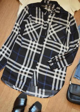 Reserved рубашка в клетку клетчатая прямая оверсайз легкая черная oversize